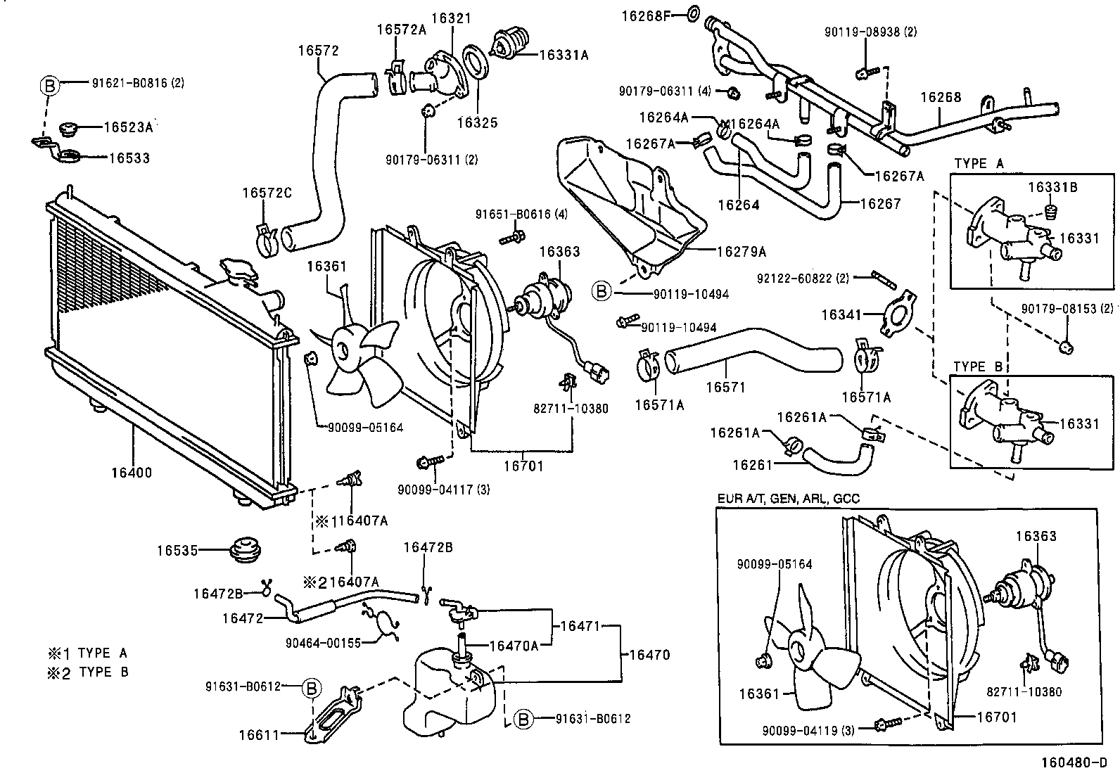 toyota rav4sxa11l-awmgk - tool-engine-fuel - radiator water outlet | japan  parts eu  japan parts eu