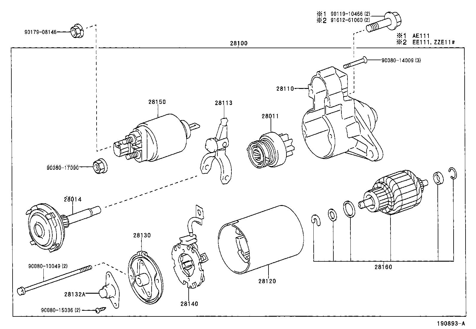 toyota corollaae111l-dlmnkw - tool-engine-fuel