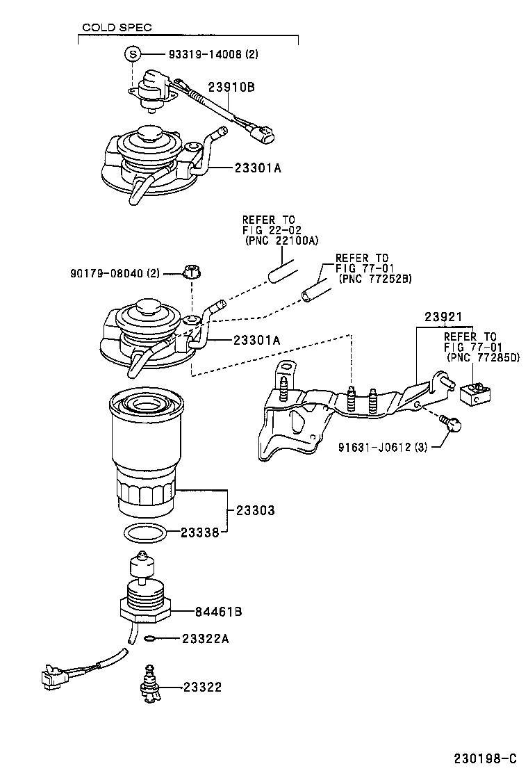 2010 toyota yaris fuel filter location