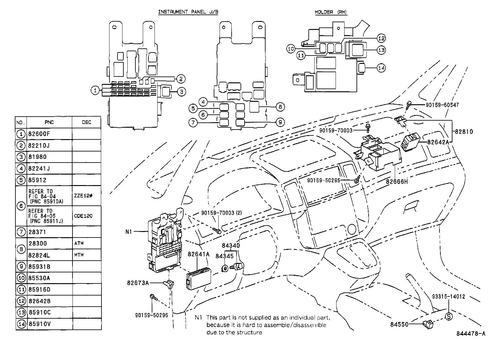 toyota corolla versozze122l-fwmnkw - electrical