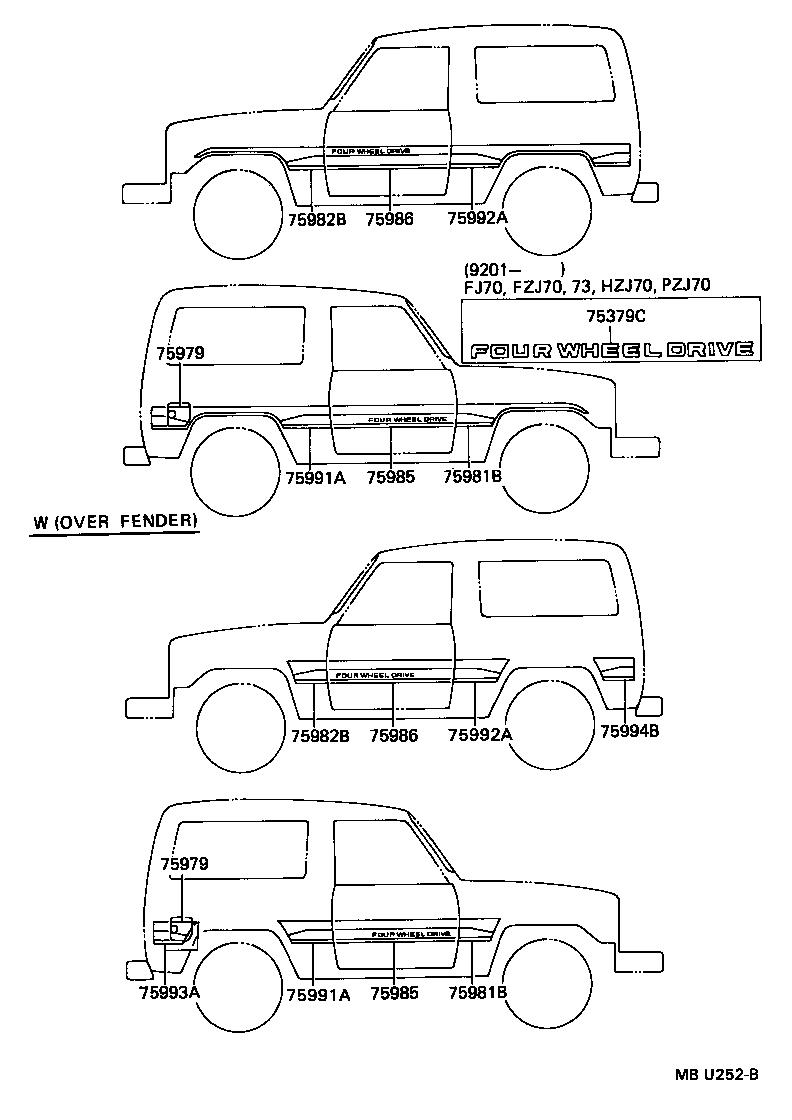 toyota land cruiser 70hzj73lv-mnw - body