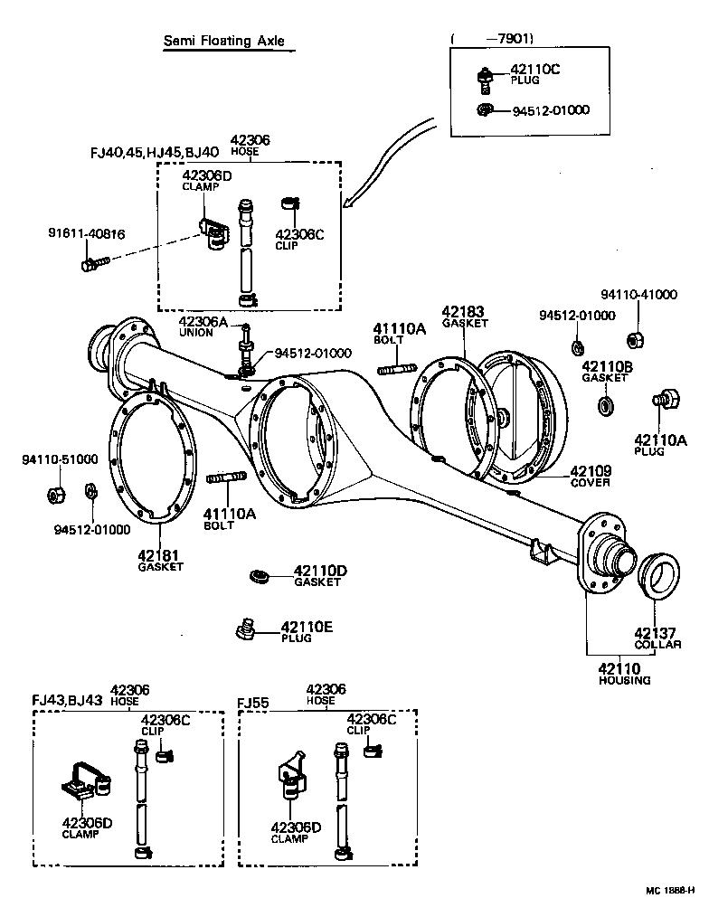 TOYOTA LAND CRUISER 40FJ40-B - POWERTRAIN-CHASSIS - REAR