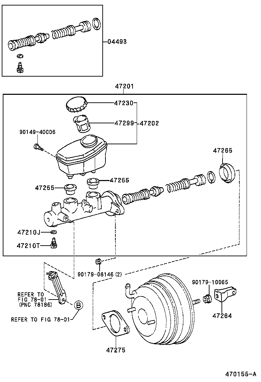 470155A toyota chaserjzx100 atpzf powertrain chassis brake master