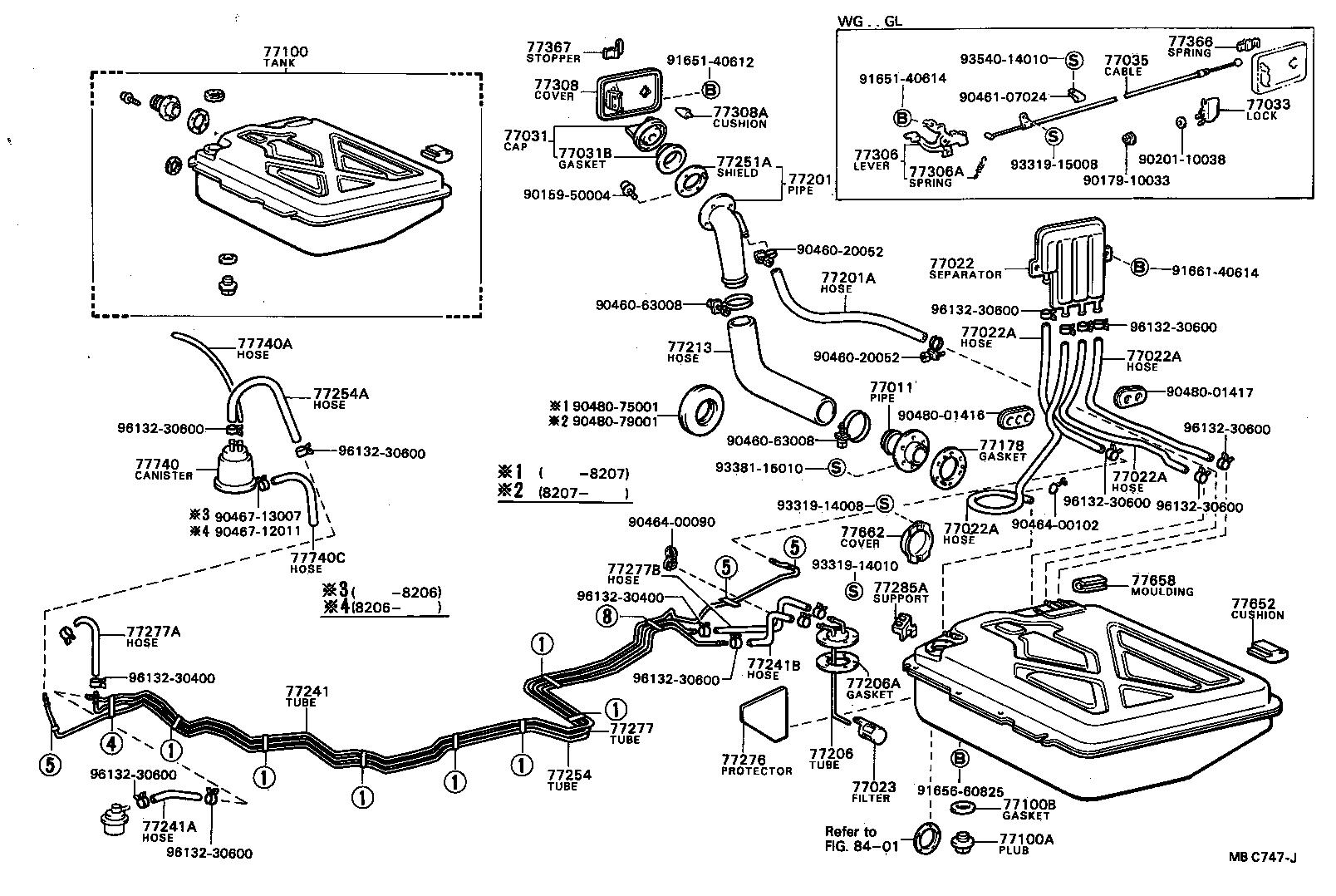 1997 toyota corolla fuel tank