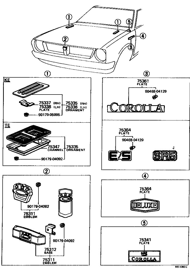 Toyota Corolla Body Parts Diagram